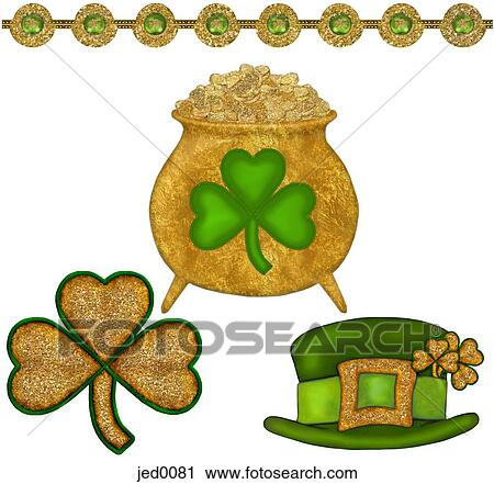 Clipart Of A Pot Of Gold Three Leaf Clovers And A Green Leprechaun