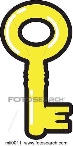 clipart of a yellow skeleton key mli0011 search clip art rh fotosearch com