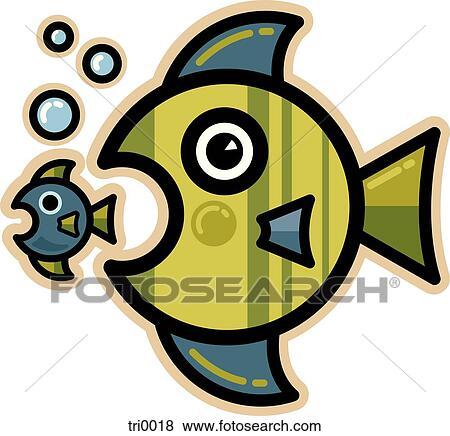 Stock Illustration Of Big Fish Little Fish Tri0018 Search Eps Clip