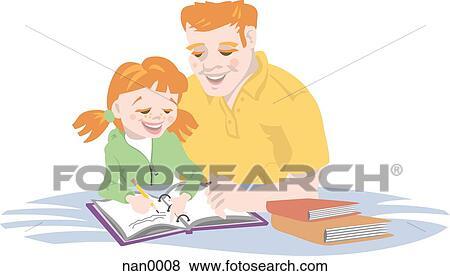 お父さん 助力 彼の 娘 で 宿題 イラスト Nan0008 Fotosearch