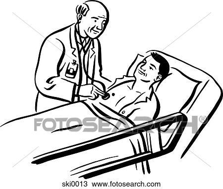 Drawing Of Hospital Bed Bw Ski0013