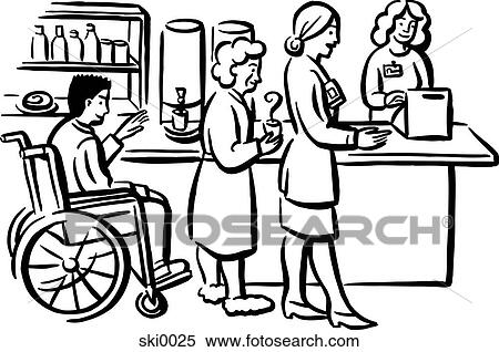 stock illustration of hospital cafeteria b w ski0025 search rh fotosearch com cafeteria clip art free cafeteria clipart black and white