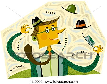 clip art of businessman trying on different hats rha0002 search rh fotosearch com 3d businessman clipart businessman clipart free
