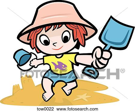 clip art of little girl building a sandcastle tow0022 search rh fotosearch com sandcastle clipart free sand castle clip art images