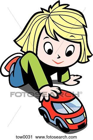 clipart petite fille jouer voiture jouet tow0031 recherchez des clip arts des. Black Bedroom Furniture Sets. Home Design Ideas