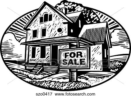 Stock Illustration Of House For Sale Bw Szo0417