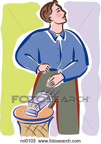 drawing of a man tossing a cigarette pack into the trash bin nri0103