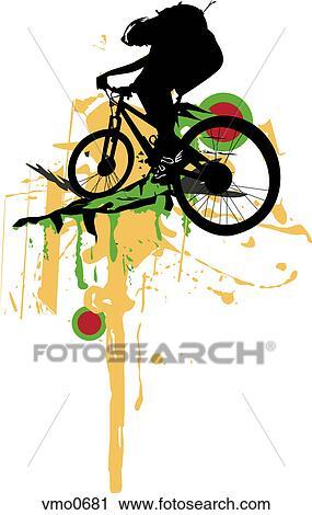 clipart um desenho de um pessoa ligado um bicicleta montanha