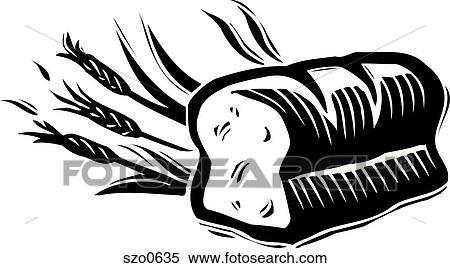 Miche pain, noir blanc Banque d'Illustrations - szo0635..
