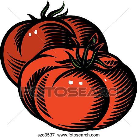 Banque d 39 illustrations dessin de deux dodu tomates szo0537 recherche de cliparts au - Tomate dessin ...