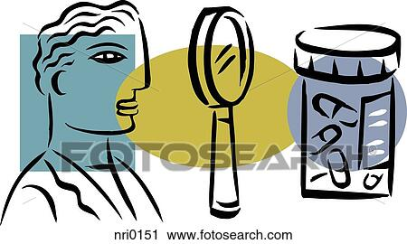 clipart of an illustration of a pharmacist and prescription drugs rh fotosearch com clipart prescription bottle prescription clipart black and white