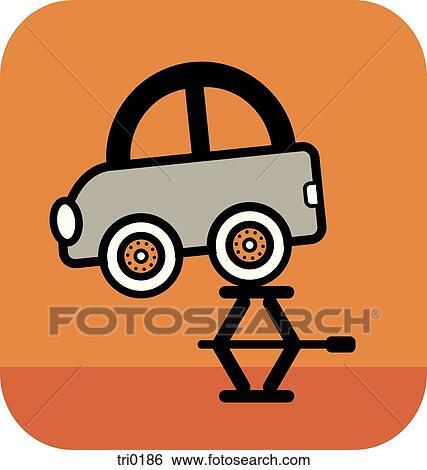 banque d 39 illustrations a pneu cric levage a voiture sur arri re plan orange tri0186. Black Bedroom Furniture Sets. Home Design Ideas