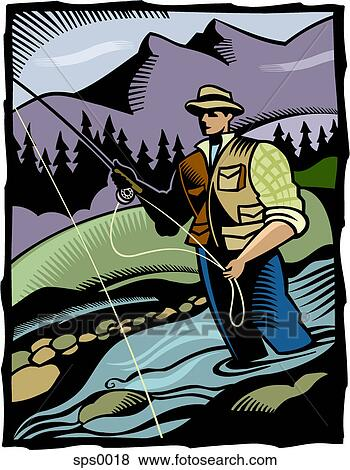 A Man Fly Fishing In A River Stock Illustration Sps0018 Fotosearch
