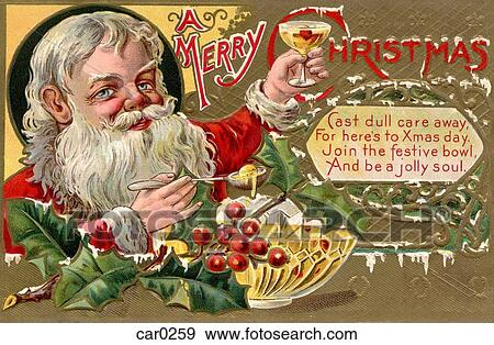 Stock Illustration Of Vintage Christmas Postcard Santa Claus