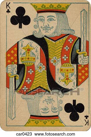 King Of Clubs Vintage Playing Card Drawing Car0423