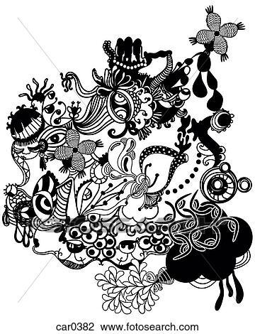 Noir Blanc Fleurs Et Oiseaux Modèle Dessin