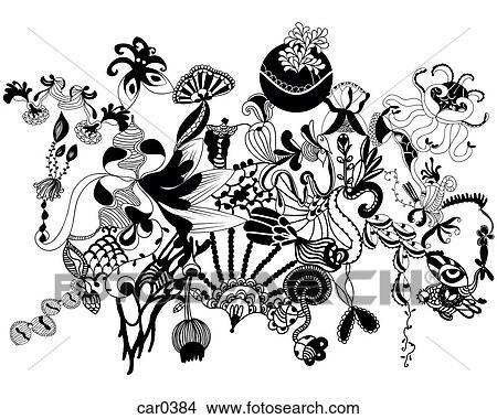 Zeichnungen - schwarz weiß, blumen-, organische, formen, und, muster ...