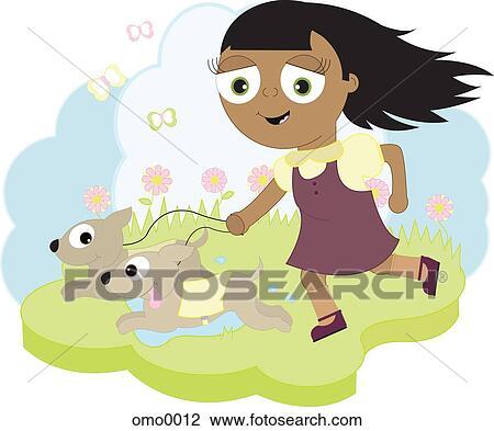 A Petite Fille Courant à Deux Chiens Dessin