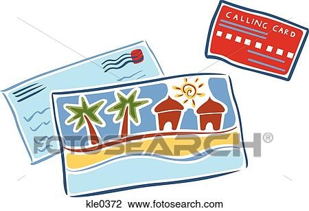 Clip Art of Postcards and a calling card kle0372 - Search ...
