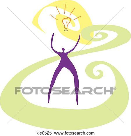 A 人 手を伸ばす に向かって A Lightbulb ぴかっと光る の上