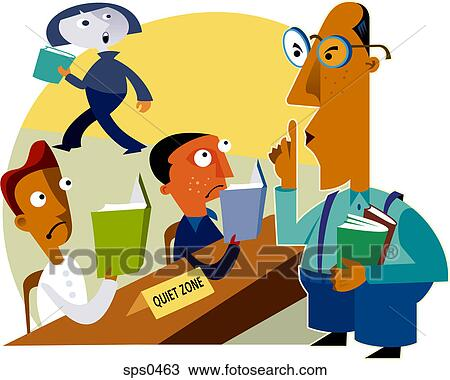 drawing of a librarian telling children to be quiet sps0463 search