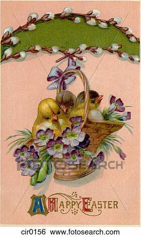 Stock Illustration Of A Vintage Easter Postcard Of A
