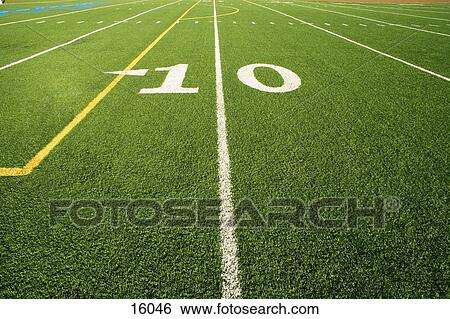 Close Up Of The 10 Yard Line In Football Field Stock Photograph 16046 Fotosearch