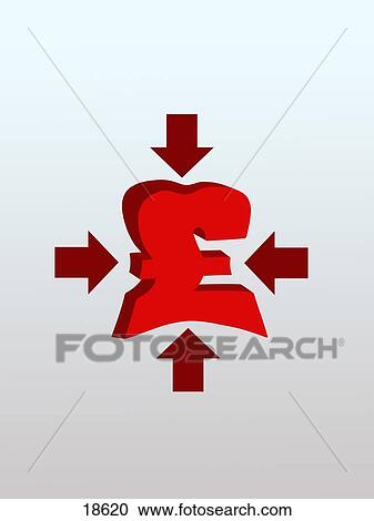Stock Photography Of Arrows Squeezing British Pound Symbol 18620