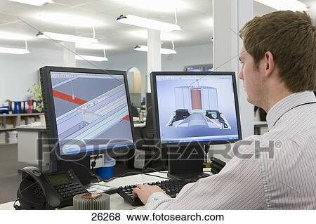 Images cao concepteur travailler ordinateur moniteurs - Bureau d etude informatique ...