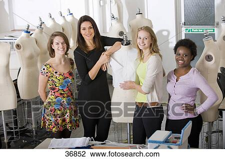 Fashion Design Students With Lecturer In University Classroom Stock Image 36852 Fotosearch