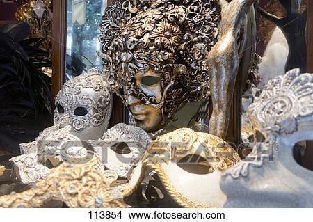 Vielfalt, von, aufwendig, venezianische masken, für ...