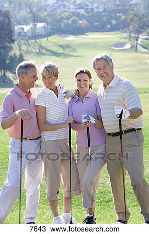 Happy Golfers In Golf Cart Stock Photo - Image: 40825339