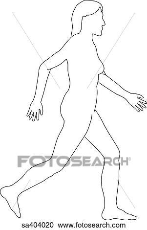 Stock Illustrations of Outline of female body walking. sa404020 ...