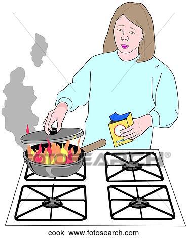 Dibujo De Cocina | Dibujo Cocina Fuego Cook Buscar Clip Art Ilustraciones De