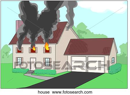 Clipart of House on Fire house - Search Clip Art ...