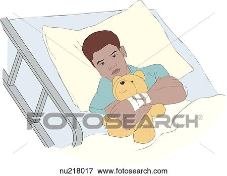 Young Boy Lies In Hospital Bed Hugging Teddy Bear Stock