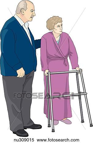 An Elderly Woman In Bathrobe Uses A Walker To Support Herself Standing Position Her Husband Stands Nearby
