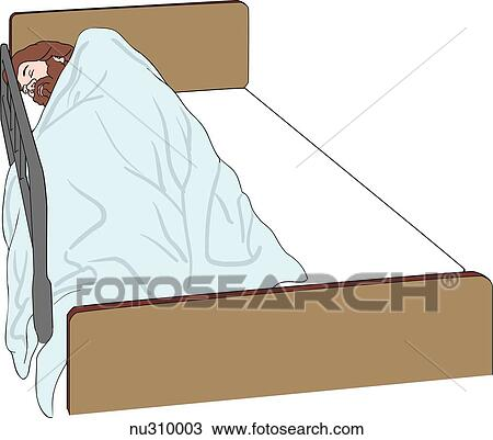 Drawing Of Patient Wrapped In Blanket Side Lying Position On Left