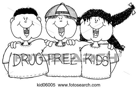 stock illustration of illustration of 3 children wearing shirts rh fotosearch com free drug and alcohol clipart Drug Free Workplace Clip Art