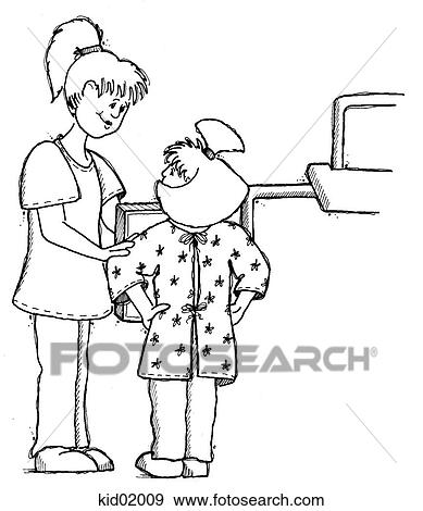 Stock Illustration Of Illustration Of Girl Getting Ready For Chest X