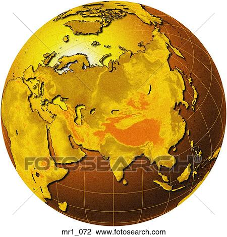 china relief map globe asia