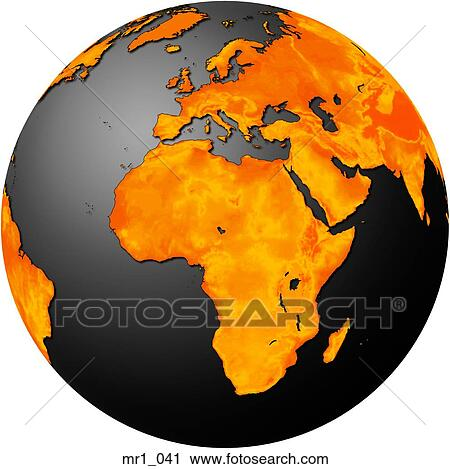 Europe, middle east, map, globes, africa Stock Image
