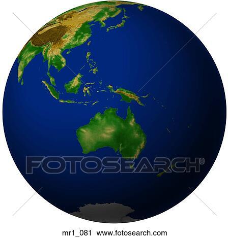 Australia Map Globe.Globe Relief Map Indonesia Australia Standartiniai Vaizdai