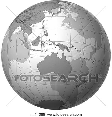 Australia Map Globe.Globe Relief Map Indonesia Australia Stock Photo
