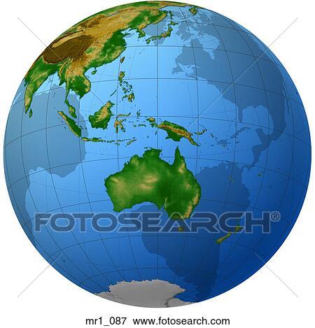 Beeld - globe, verlichting, kaart, indonesie, australie mr1_087 ...