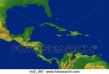 Caribbean Topographic Map.Stock Photography Of Caribbean Map Relief Terrain Topographic