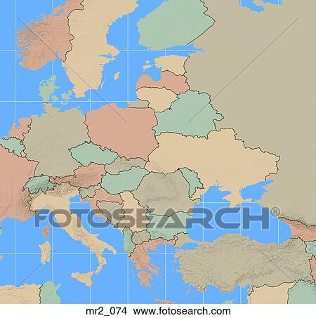 Stock Photo of eastern europe, political, map, atlas mr2_074 ...