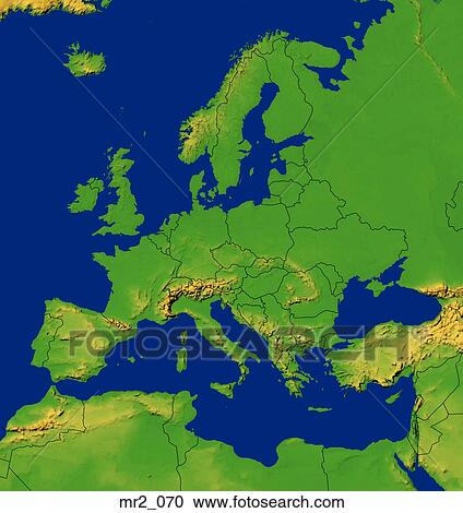 Stock Photography Of Europe Map Relief Terrain Topographic