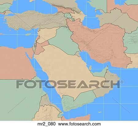 Stock Photography Of Map Political Middle East Atlas Mr2 080