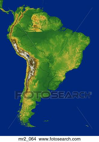 Stock Photo Of Map Relief South America Terrain Topographic
